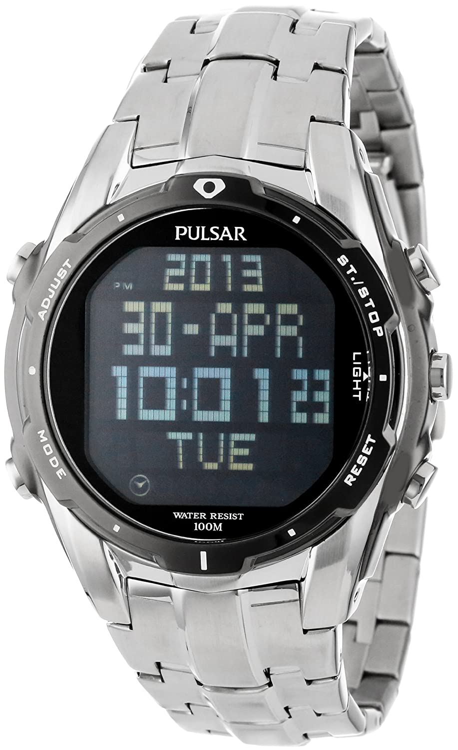 Amazon Pulsar Mens Pq2001 Silver Tone Digital Stainless Steel