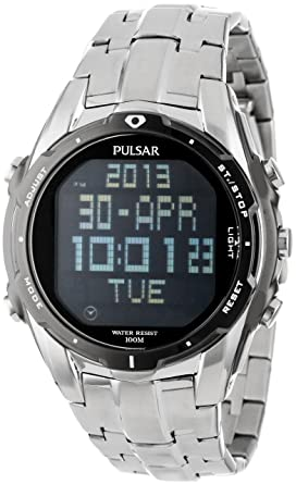 pulsar men s pq2001 silver tone digital stainless steel watch pulsar men s pq2001 silver tone digital stainless steel watch link bracelet