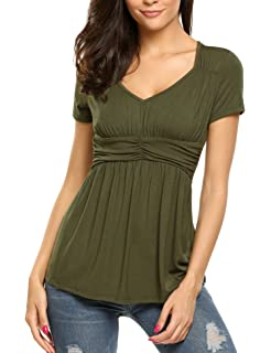 c895a360e37 SoTeer Women Deep V-Neck Empire Waist Ruched Slimming T-Shirt Blouse Top S