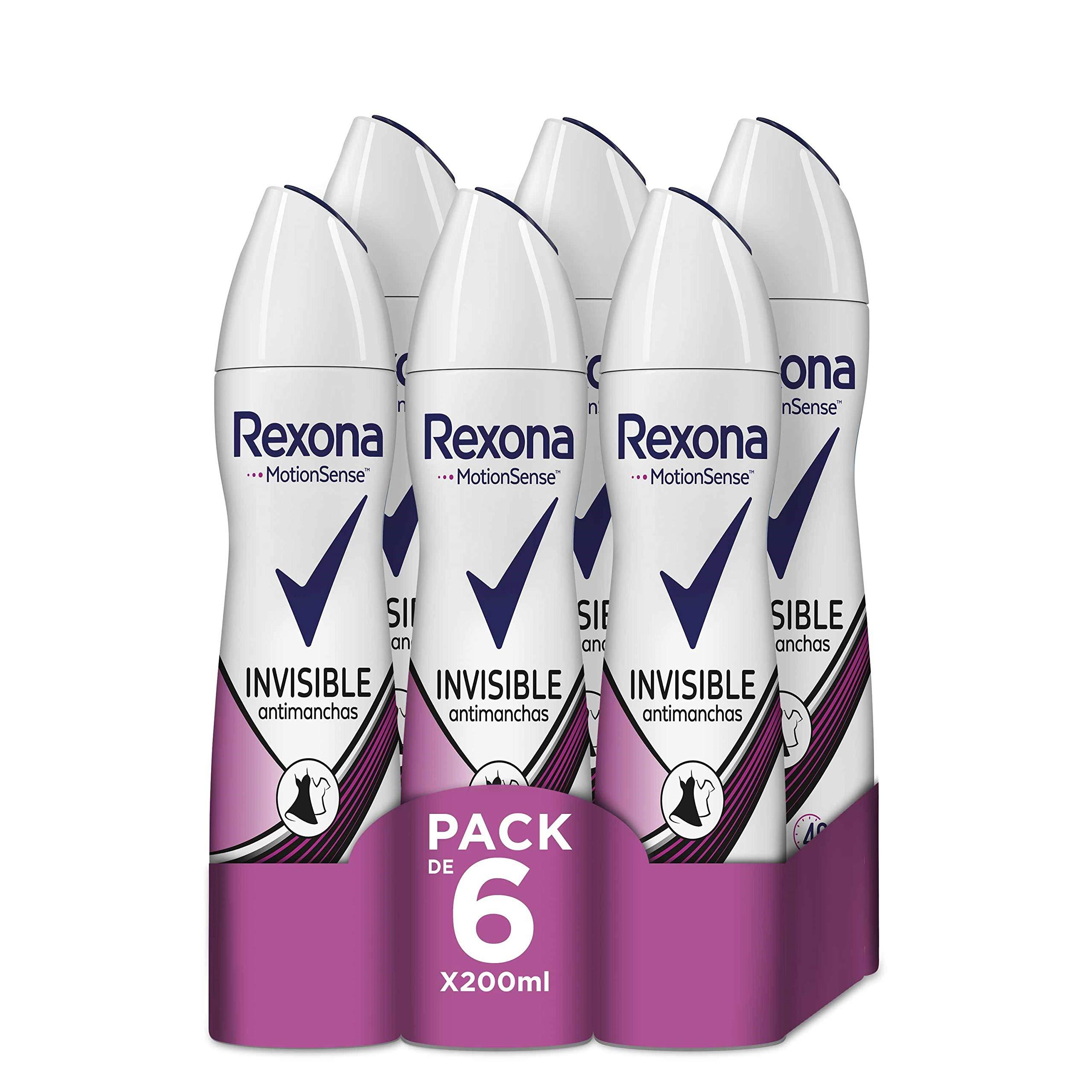 Rexona Desodorante Antitranspirante Invisible en ropa blanca y negra - Pack de 6 x 200 ml (Total: 1200 ml)