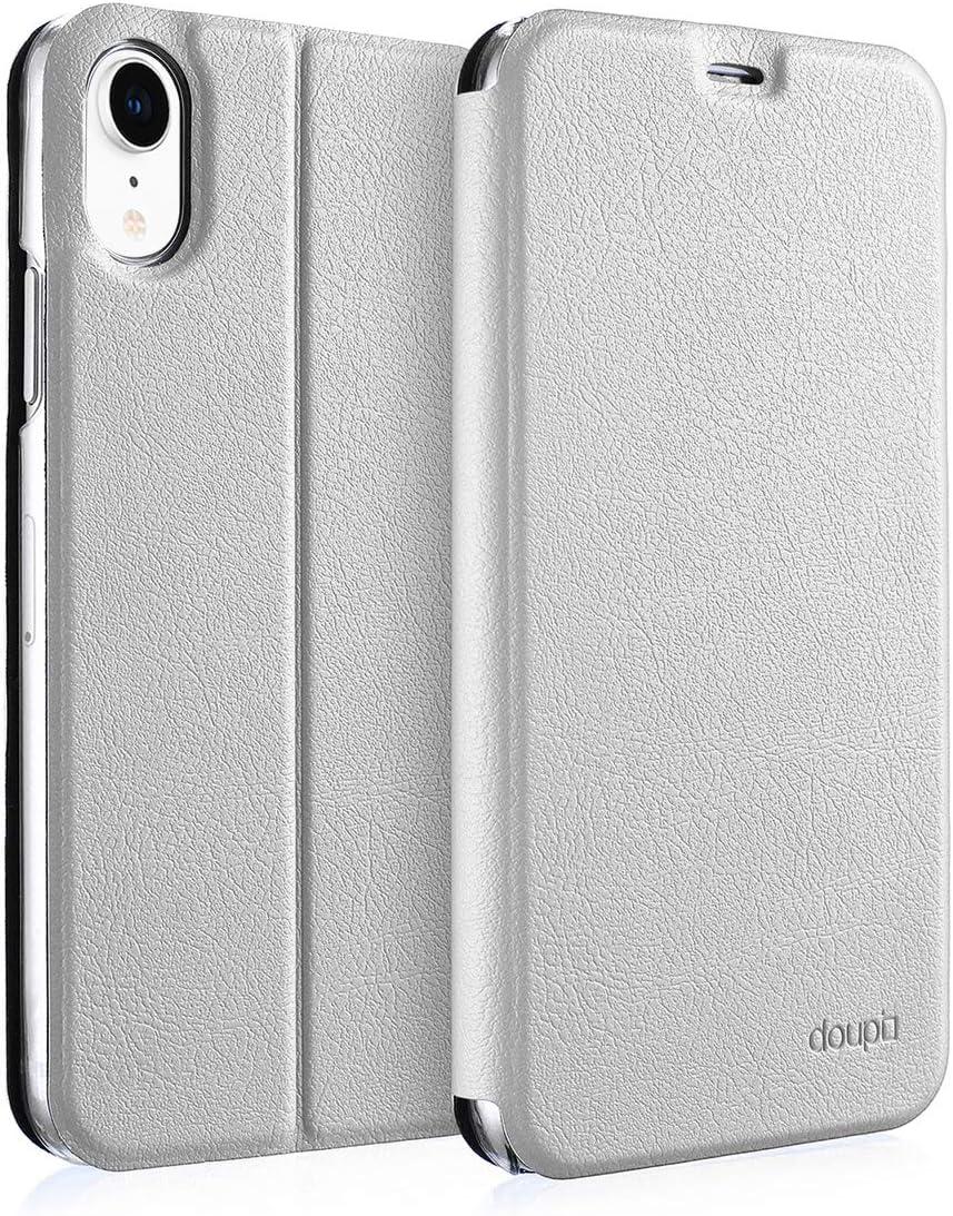 doupi Deluxe FlipCover para iPhone XR (6,1 Pulgada) Carcasa Case magnético Funda Caso tirón Estilo Libro Protector de Cuero Artificial, Blanco: Amazon.es: Electrónica