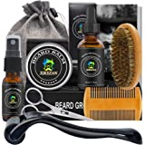 Beard Growth Kit,w/Beard Roller,Beard Growth Oil,Beard Balm,Beard Roller Cleanser,Comb,Brush,Scissor,Bag,E-Book,Beard Care Gr