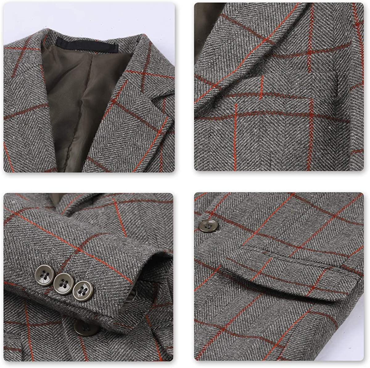 Boys Plaid Blazer Jacket Formal Dress Check Black Gray for Wedding