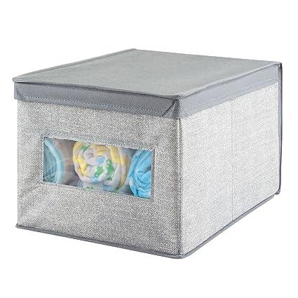 mDesign Caja organizadora de tela grande – Caja de tela con tapa para el armario del