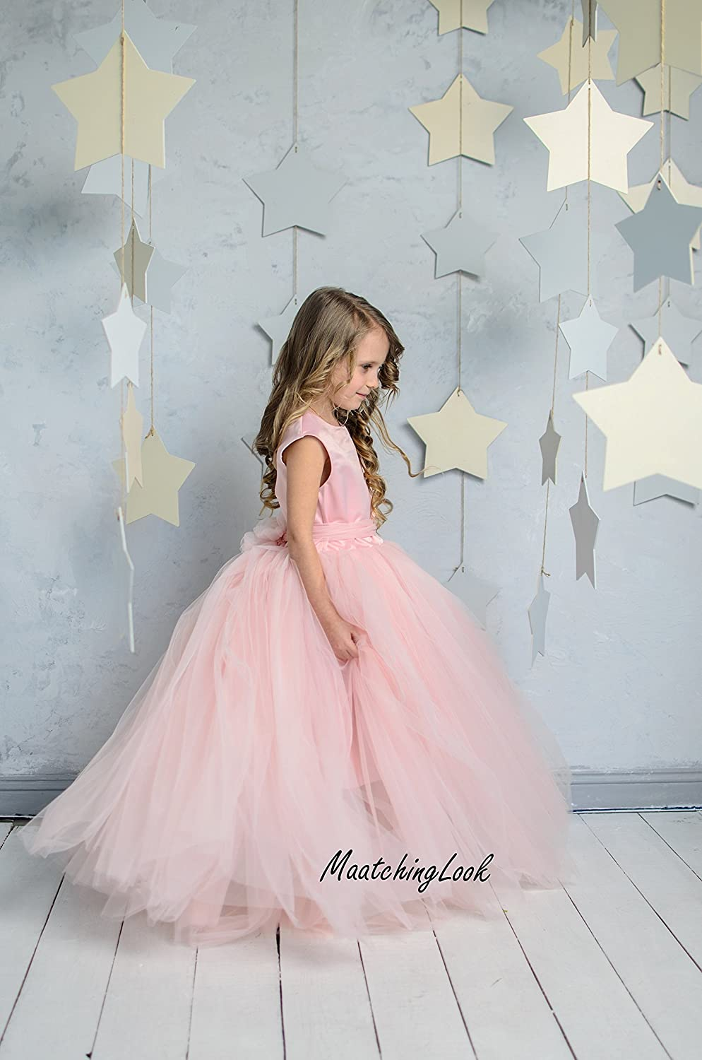 caaa597b1 Amazon.com: Flower Girl Dress Blush Pink,Princess Dress,Blush Baby Girl  Tutu Dress,1st Birthday Girl Outfit Tulle Dress Toddler Dress Pink Wedding  Dress: ...