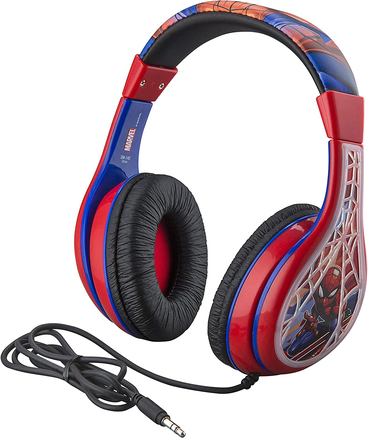 Amazon Com Spider Man Kids Headphones Adjustable Headband Stereo Sound 3 5mm Jack Wired Headphones For Kids Tangle Free Volume Control Foldable Childrens Headphones Over Ear For School Home Travel Toys Games