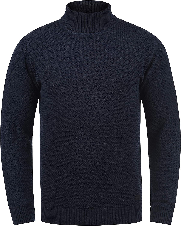 !Solid Karlos Jersey De Cuello Alto Jersey De Punto Suéter Sudadera De Punto para Hombre con Cuello Alto Doblado