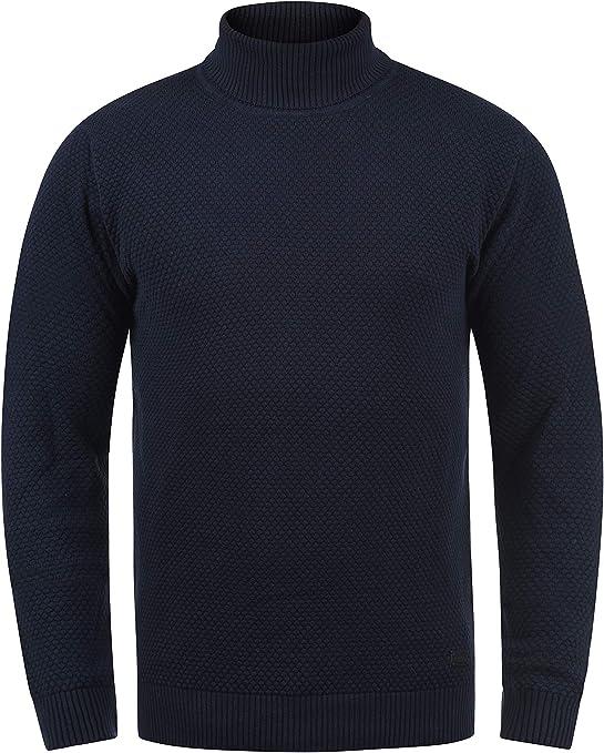 TALLA S. !Solid Karlos Jersey De Cuello Alto Jersey De Punto Suéter Sudadera De Punto para Hombre con Cuello Alto Doblado