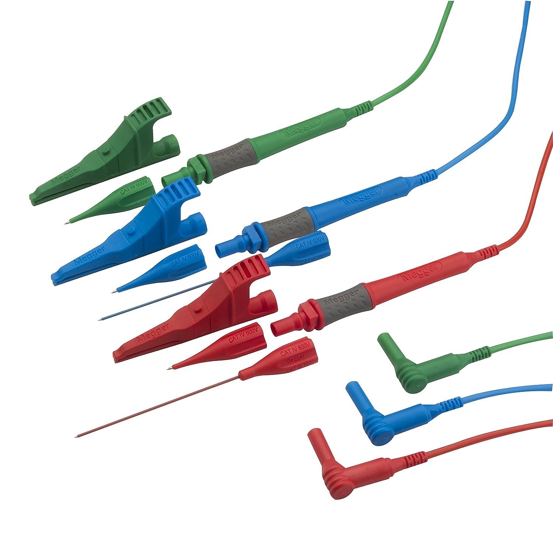 Megger 1001-991 Messleitungsset Rot//Blau//Gr/ün ohne Sicherungen 3-fach mit langen Pr/üfspitzen