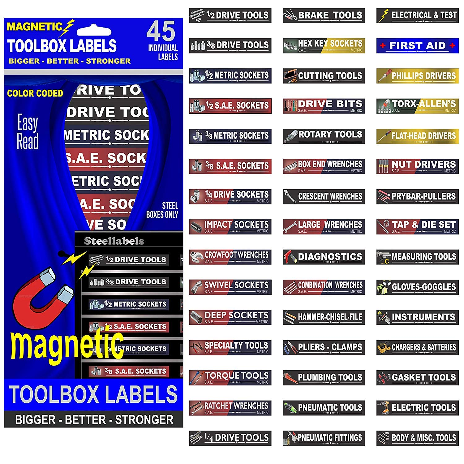 """Ultimate Magnetic Tool Box Organizer Labels - Blue Edition organize boxes, drawers & cabinets """"Quick & Easy"""", fits all brands of 'Steel' tool chest Craftsman, Snap-on, Mac, Matco & Cornwell"""