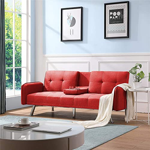Convertible Sofa, Sofas Bed for Living Room Fold Up and Down Recliner Couch. Red