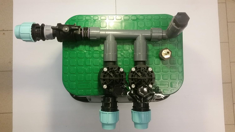 Verteiler vormontiert inkl. Rain Bird Magnetventil und Ventilbox Bewässerung, Anschluß 32 mm PE-Rohr (2 Zonen)
