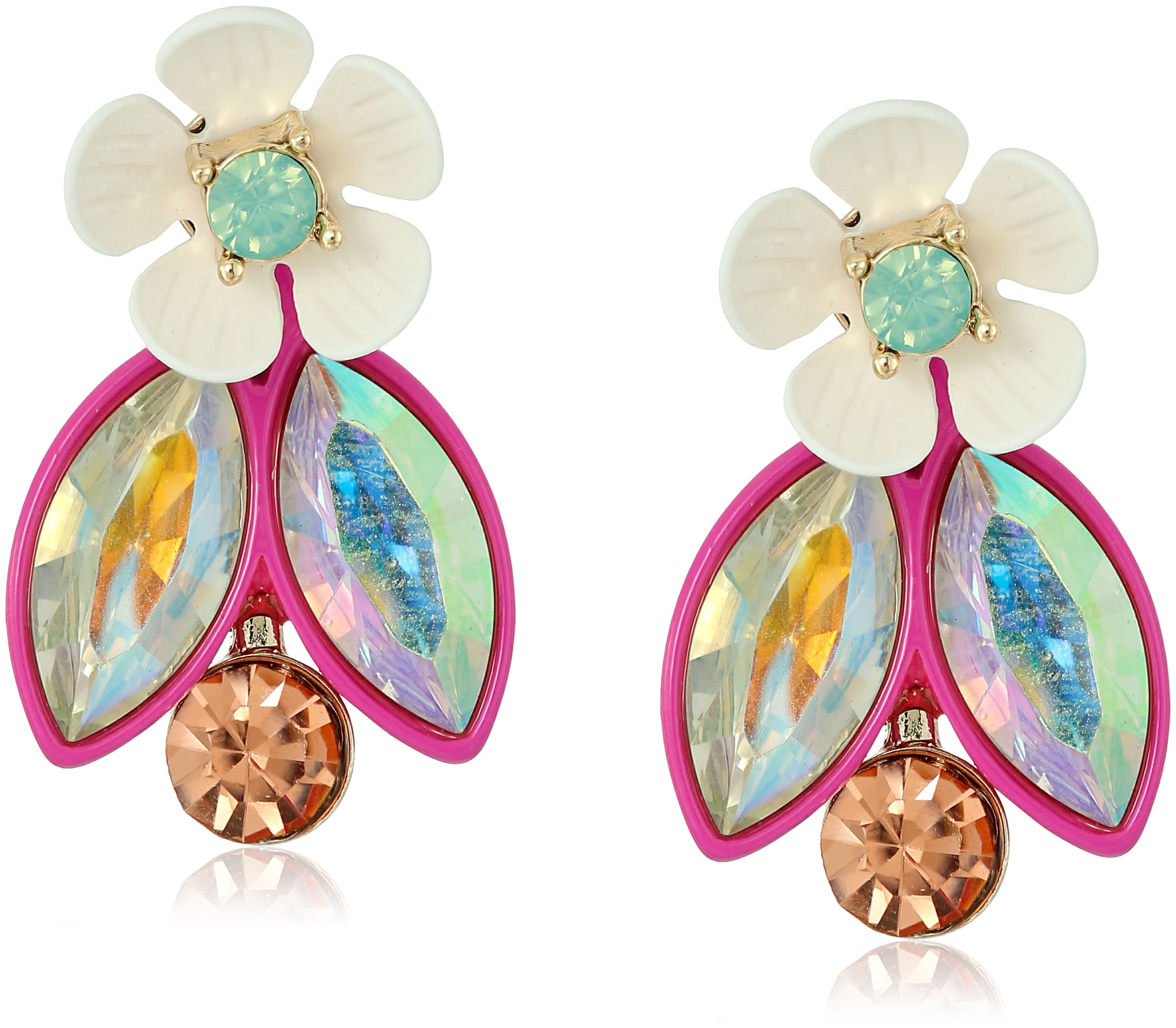 Betsey Johnson Flower Faceted Stone Cluster Earrings Jacket