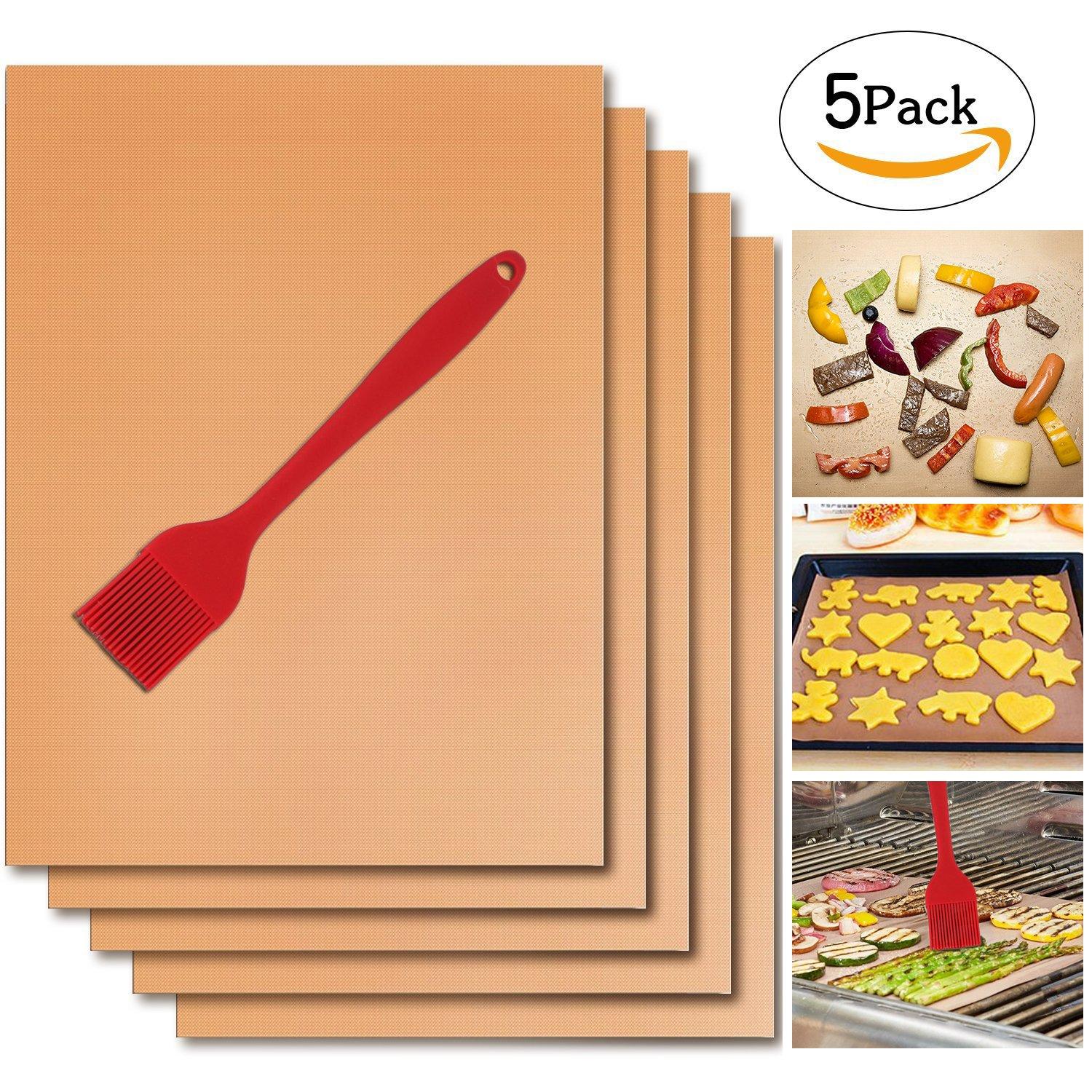 Copper Grill Mat Set of 5 with one Red Silicone Brush, Teflon Fiber BBQ Grill & Baking Mats, Non-stick, Reusable, Easy to Clean and Store - 15.75x13.00Inches Tuptoel