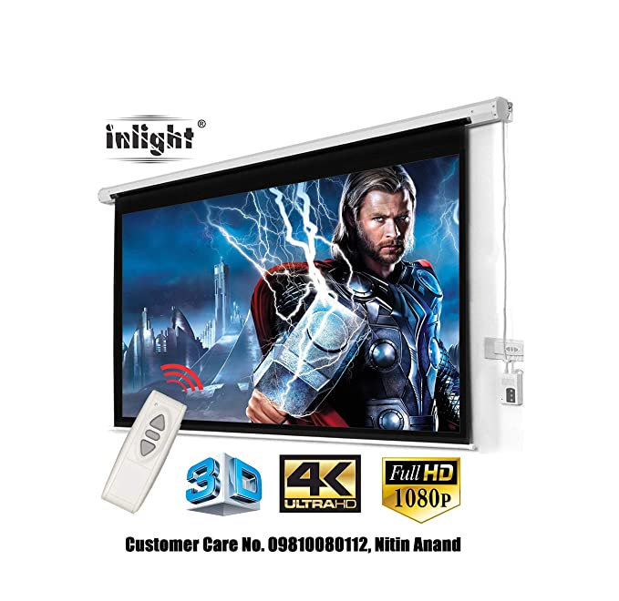 Inlight Imported Motorised Projector Screen, Size: - 7 Ft. (Width) x 5 Ft. (Height), 100 Inches Diagonal, 4:3 Format, Supports Ultra HD Active 3D-4K Ready Viewing Technology Projection Screens at amazon