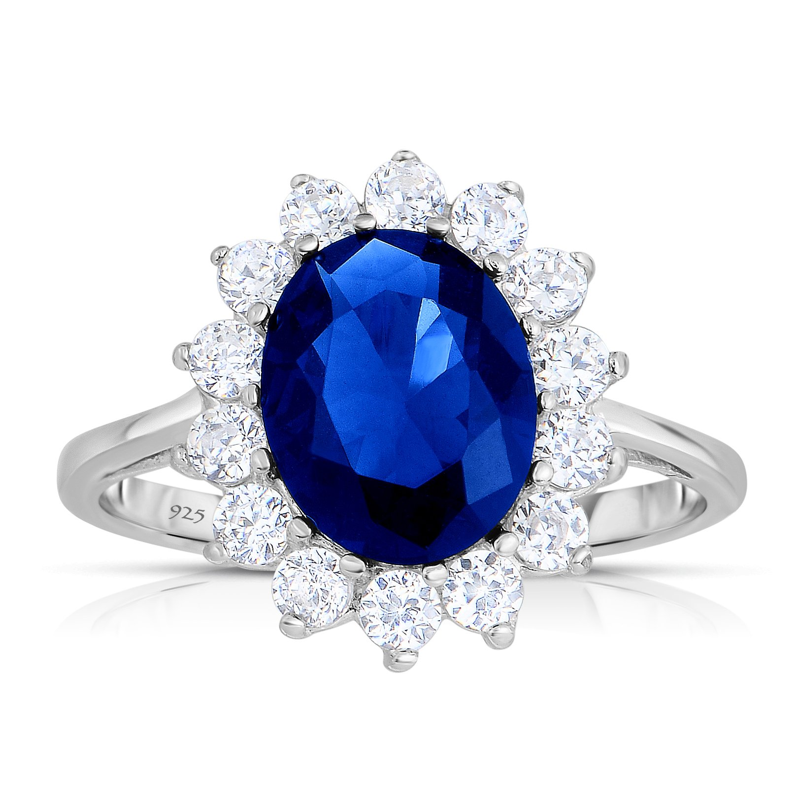 Sterling Silver Kashmir Blue Sapphire CZ with White CZ Helo Jacket Princess Diana Kate Engagement Ring (5)