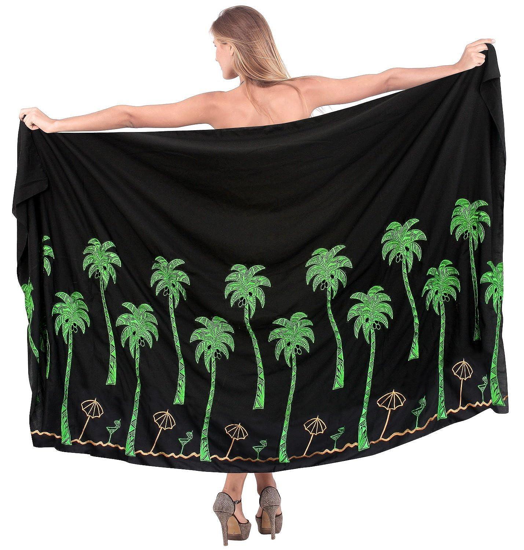 La Leela glatt 5 schwarz Kokosnussbaum bestickt Rayon in einem Bademode/Badeanzug vertuschen/Tunika/sundress/Bikini Schlitz Rock/Damen Pareo/plus Größe Badeanzug Sarong langes Kleid 198x99 cm wickeln