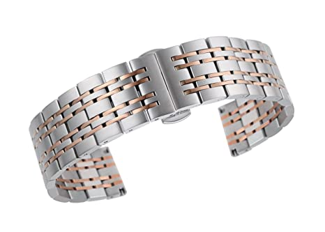 3a766b3bd5d 18mm high-end two tone bracelet replacement for watches solid stainless  steel in silver and