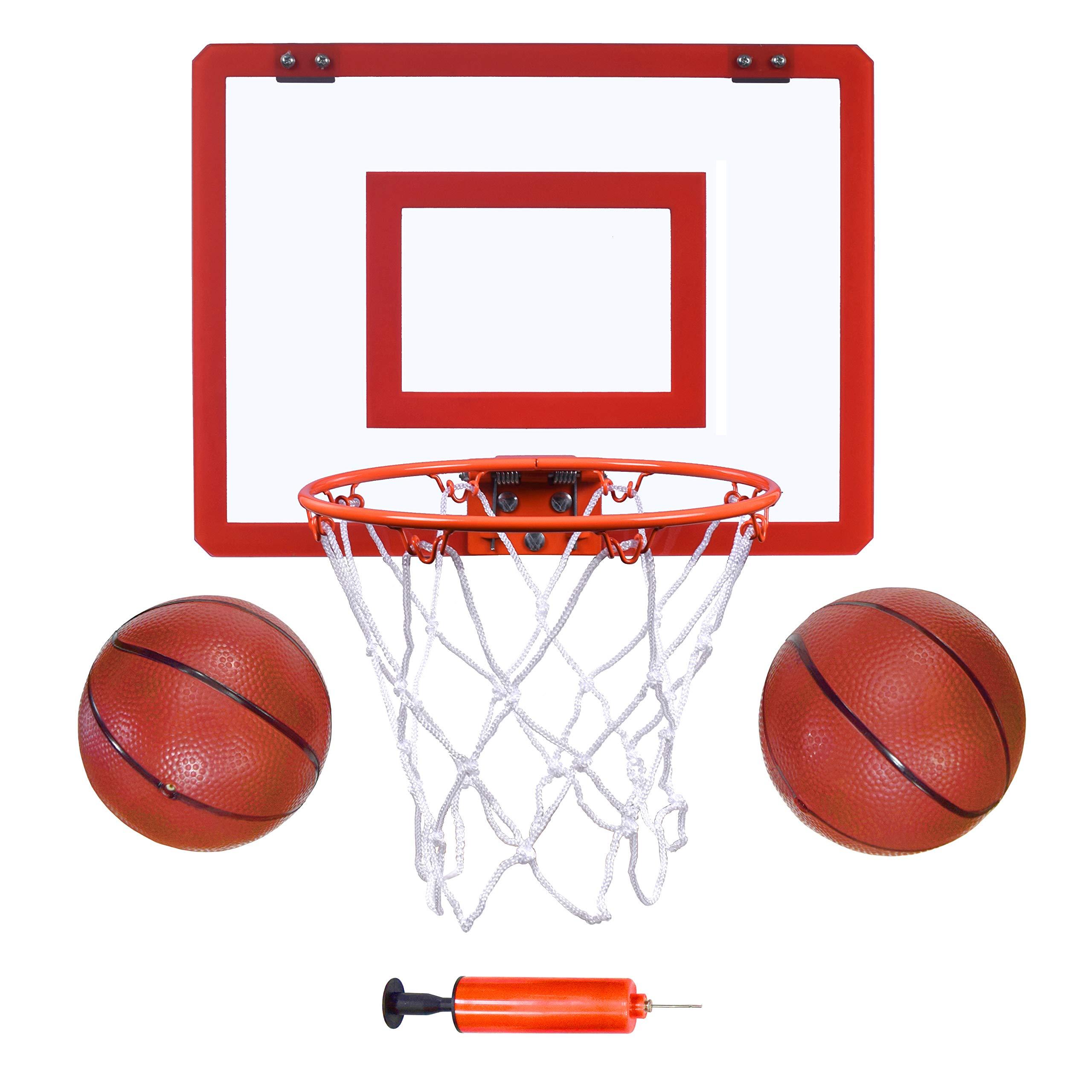 Indoor Mini Basketball Hoop and Balls 16''x12 - Basketball Hoop for Door Set - Indoor Mini Basketball Game for Kids