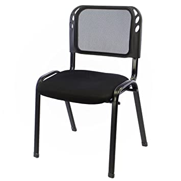 Nexos B/ürostuhl Konferenzstuhl Besucherstuhl schwarz gepolsterte Sitzfl/äche stapelbar 52,5 x 45 x 80 cm Stapelstuhl Metallrahmen schwarz