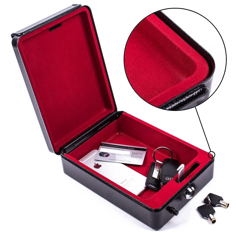 ProPlus Hochsichterheits Mobilsafe mit Schlü ssel B 15 x T 21 x H 5,5 cm, Geldkasette, Tresor schwarz fü r Wohnwagen und Wohnmobil