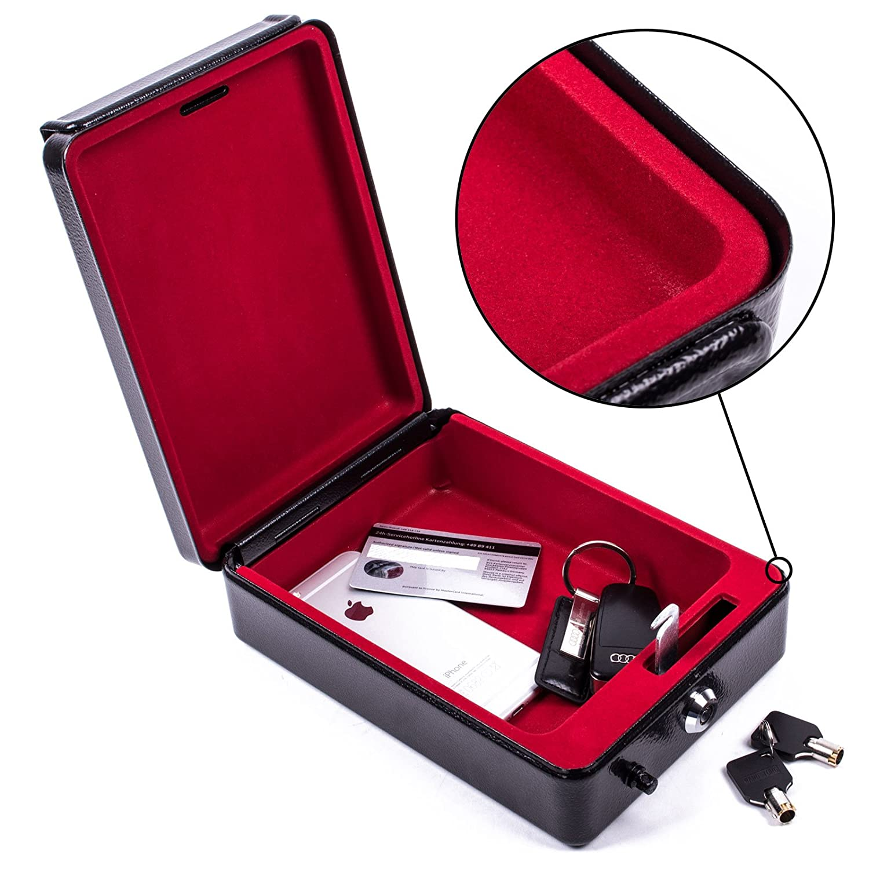 Caja portá til de alta seguridad con llave de ProPlus. 15 x 21 x 5,5 cm. Caja de caudales, caja fuerte negra para caravana y autocaravana. 5cm. Caja de caudales