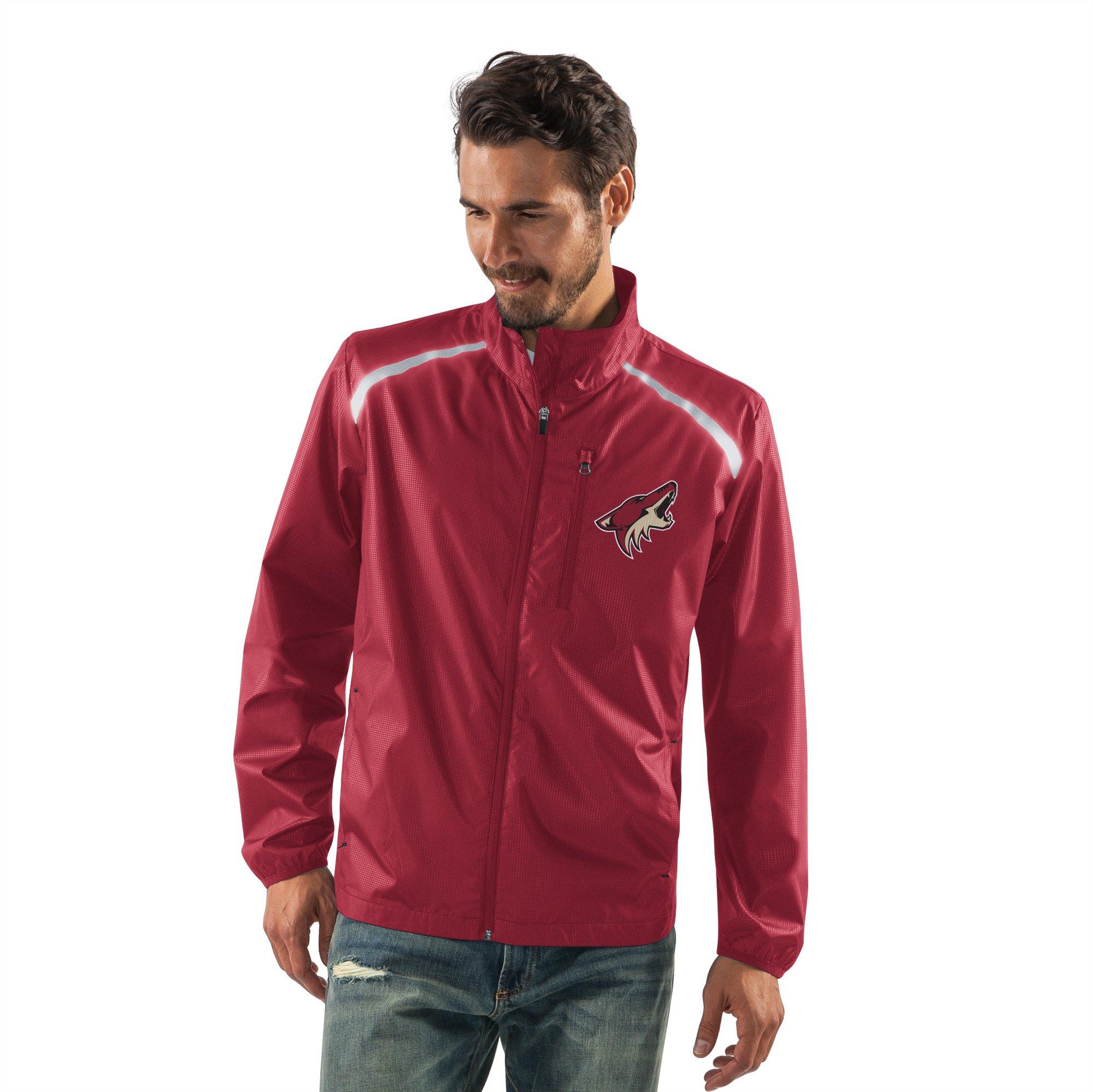 G-III Sports NHL Arizona Coyotes Men's Storm Full Zip Packable Jacket, Small, Cardinal