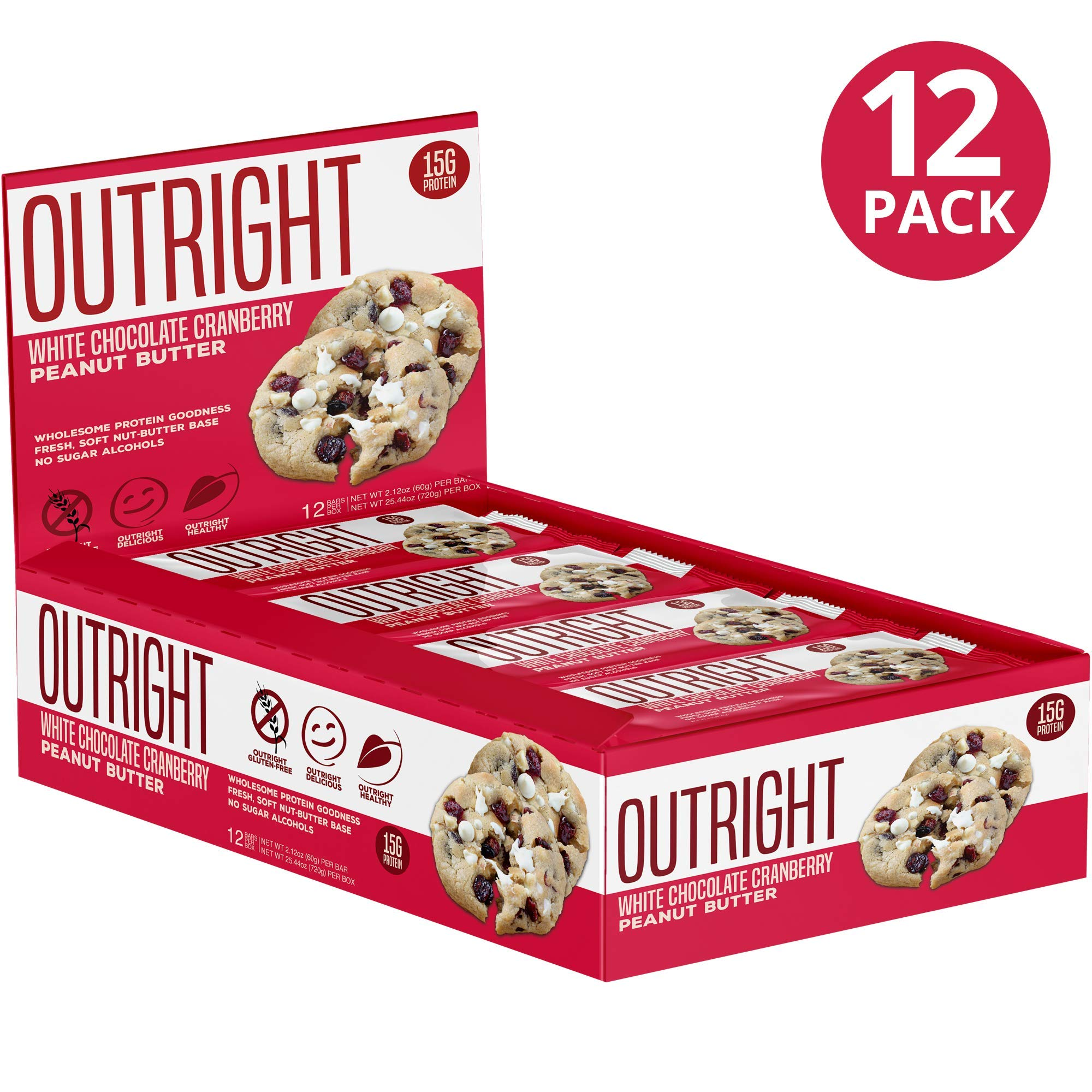 Outright Bar - Whole Food Protein Bar - 12 Pack - MTS Nutrition - Peanut Butter Cranberry White Chocolate Chip by MTS Nutrition