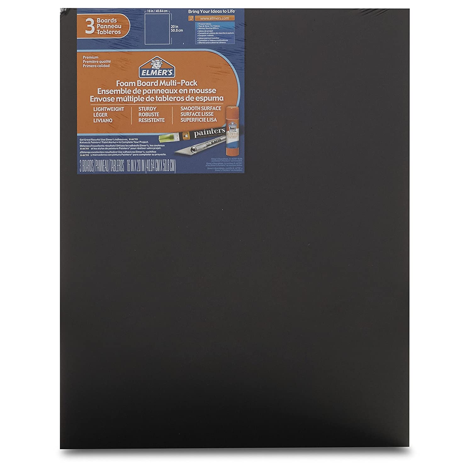 Elmers Foam Board Multi-Pack, Black, 16x20 Inch, Pack of 3