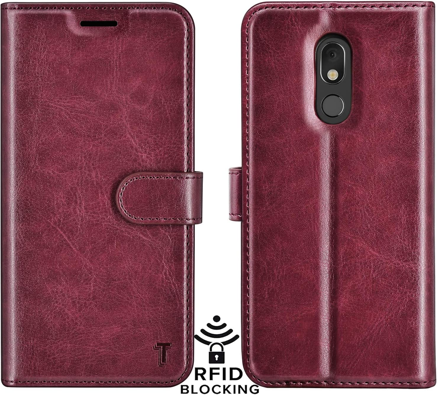 Njjex LG Stylo 5 Case, LG Stylo 5 Wallet Case, Stylo 5V/Stylo 5X/Stylo 5 Plus Case, RFID Blocking PU Leather Folio Flip ID Credit Card Slots Holder [Kickstand] Magnetic Closure Phone Cover [Wine Red]