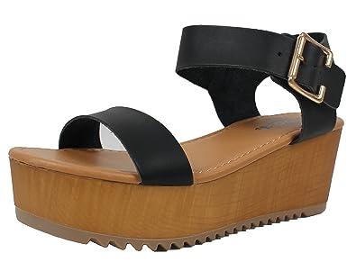 fbe68885c58 SODA Women s Open Toe Ankle Strap Flatform Sandal Wedge (Black