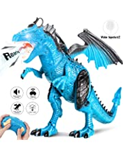 Joy Link 0062_ 05, Mando a Distancia Dinosaurio de Juguete con Caminar, Simul iertem brüllen, Rocíe, kopfschütteln, Blue