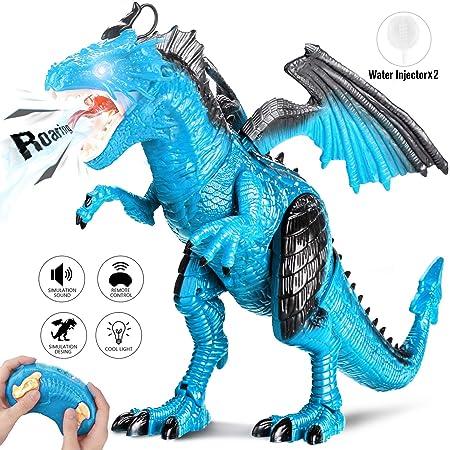 Joylink 0062_05 Fernbedienung Dinosaurier Spielzeug mit Gehen, Simuliertem Brüllen, Sprühen, Kopfschütteln, Blue