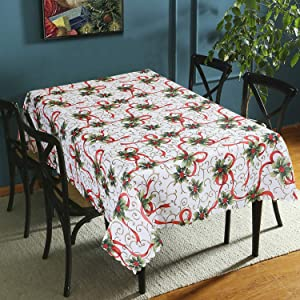 Vaulia Decorative Rectangle Tablecloth, Printed Pattern for Christmas - 60 x 102 inches
