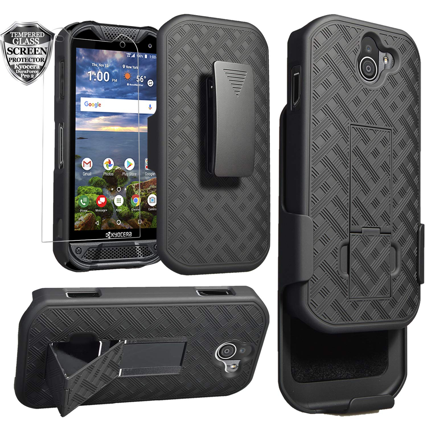 Kyocera DuraForce Pro 2 Case, Ailiber E6910 Holster with Screen Protector,  Swivel Belt Clip, Kickstand Holder, Shock Proof Pouch Slim Shell Slide
