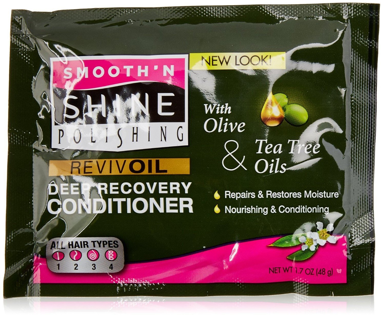Smooth 'N Shine Olive & Tea Tree Revive Oil Deep Recovery Conditioner, 1.7 oz (Pack of 4) SCHWRZKP&HNK