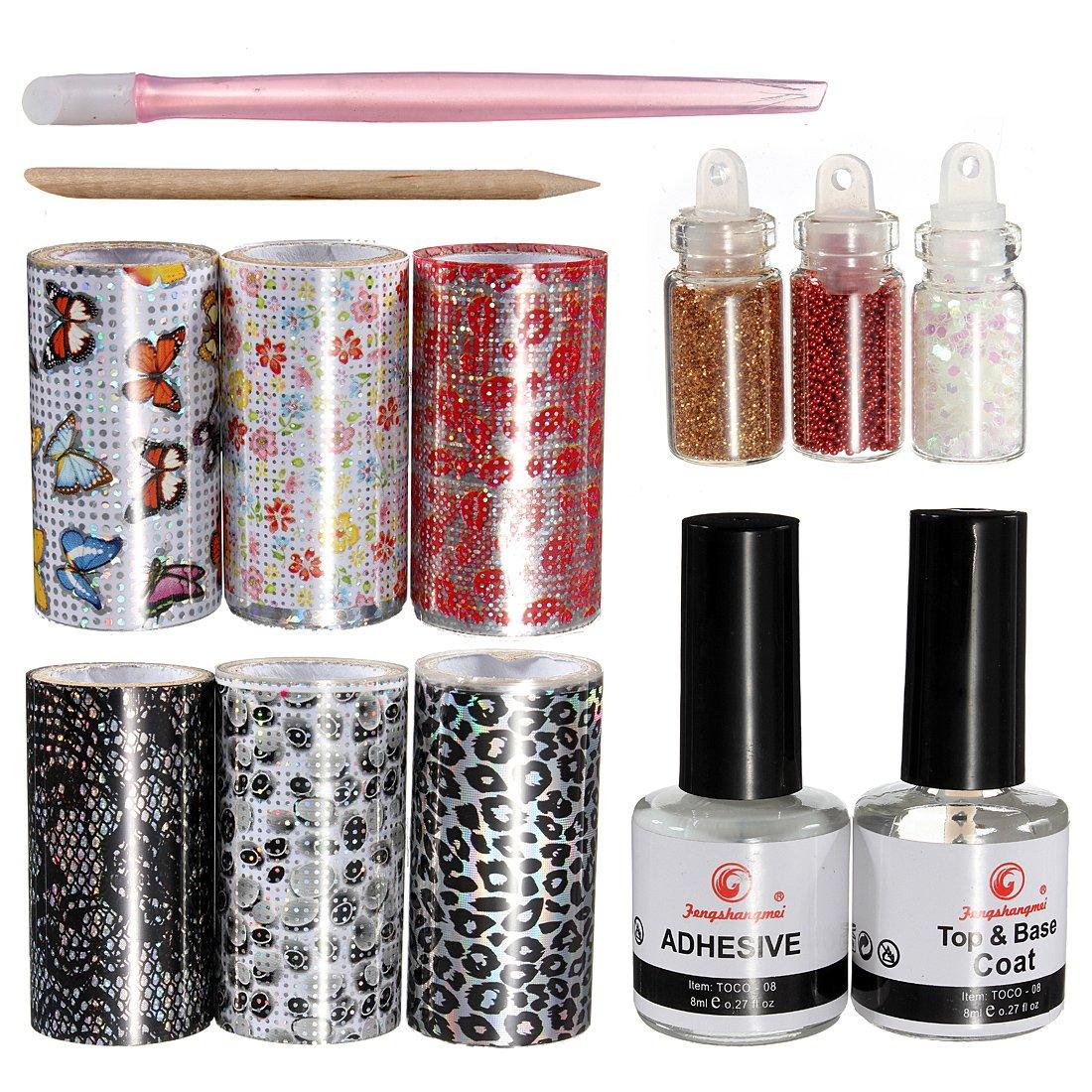 Amazon.com : Nail Art Tips Design Transfer Foils Kit Adhesive Top ...