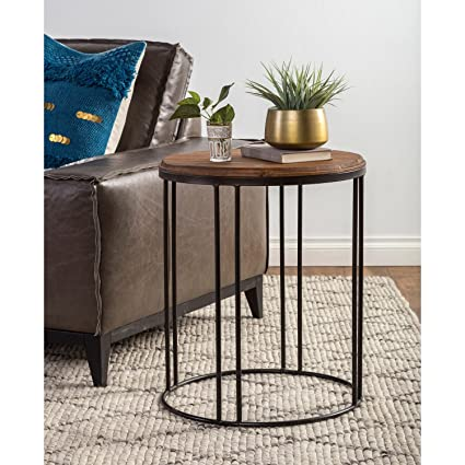 d37f3132b0 Reclaimed Wood and Iron Round Side Table, Sturdy and Long-Lasting Pine Wood  and