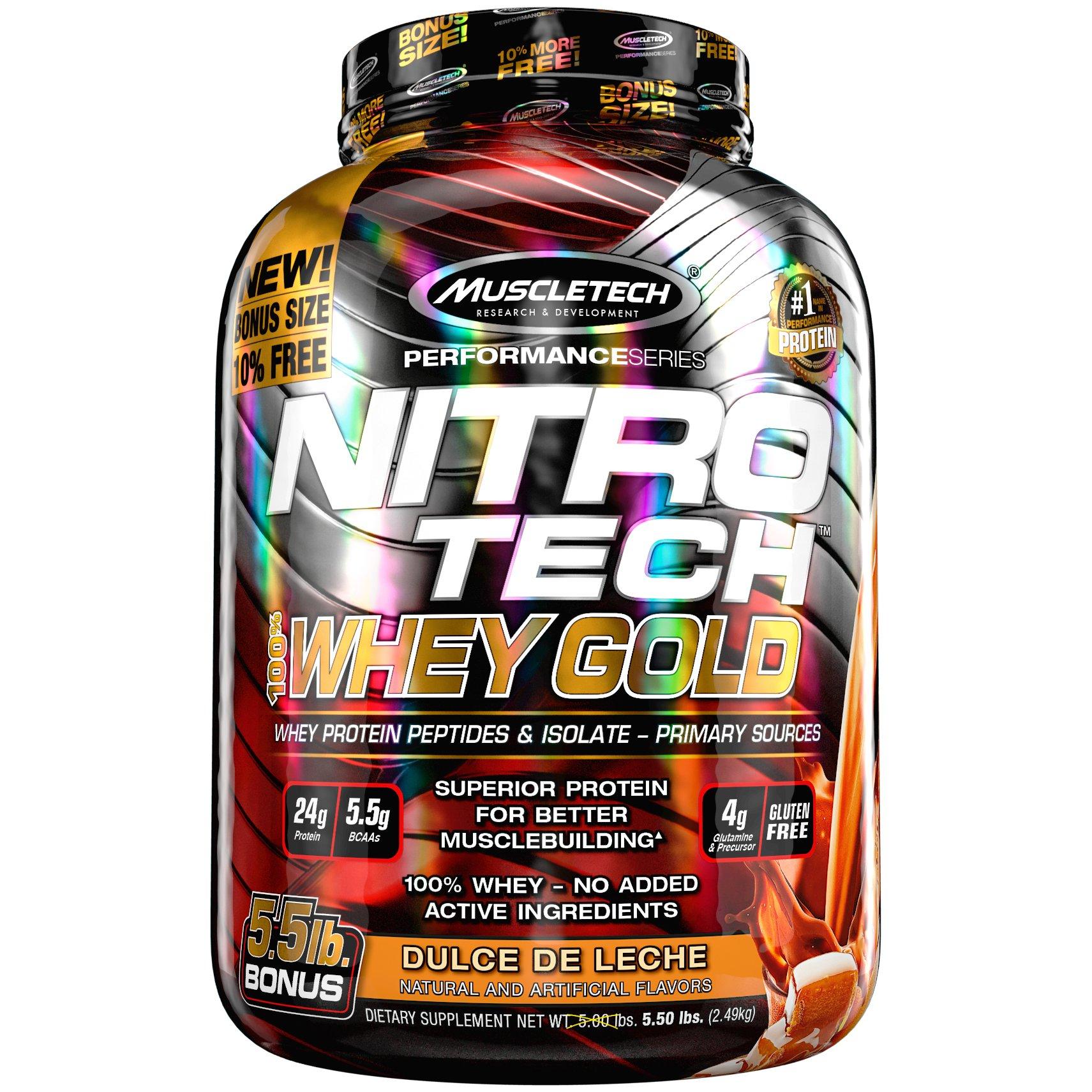 MuscleTech Nitrotech Whey Gold/Isolate/Peptides, Dulce De Leche, 5.5 Pound