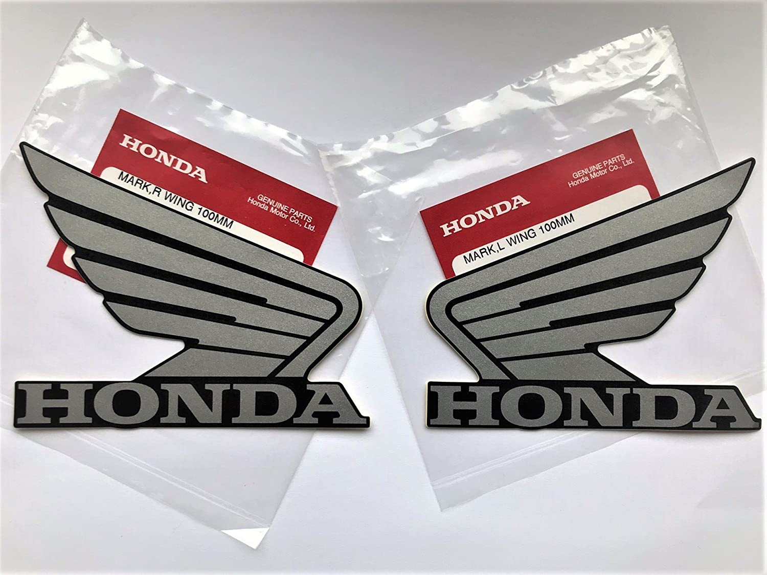 Honda Wings Fuel Tank Gas Tank Stickers Decals 2 x 100mm SILVER / BLACK Left & Right 100% GENUINE