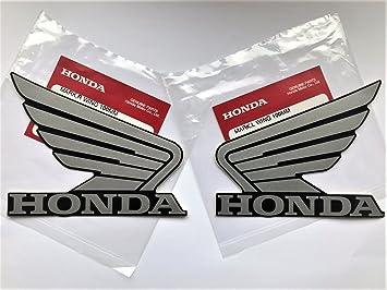 HONDA ALAS Depósito Combustible Depósito ADHESIVOS 2x 100mm PLATA/NEGRO IZQUIERDA & DERECHA 100%