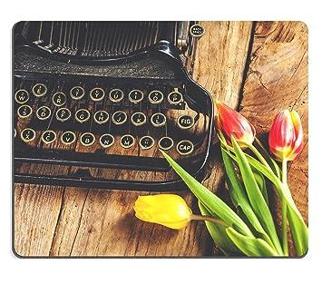 Luxlady Mousepads flores en la máquina de escribir una carta romántica imagen 37687136 personalizado arte sobremesa