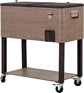 Sunjoy Gateway Collection 80 Quart Rolling Ice Chest Portable Patio Party Drink Cooler Cart, Brown