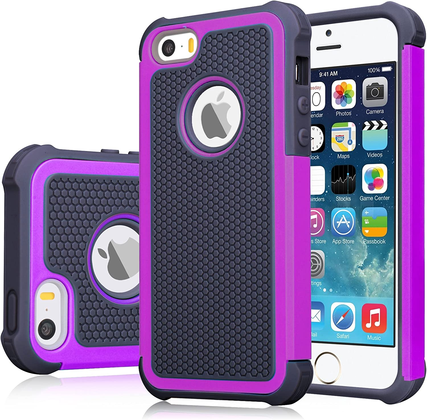 iPhone SE Case, iPhone 5S Cover, Jeylly Shock Absorbing Hard Plastic Outer + Rubber Silicone Inner Scratch Defender Bumper Rugged Hard Case Cover for Apple iPhone SE/5S - Black