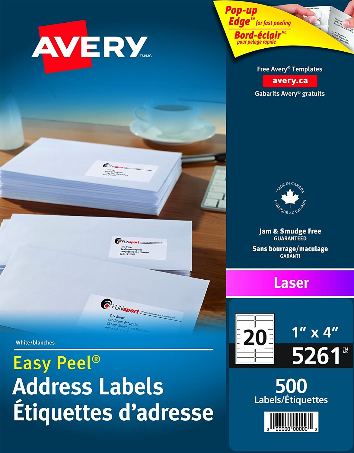 Avery Address Labels With Easy Peel For Laser Printers 1 X 4