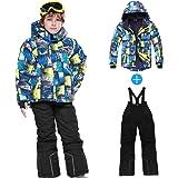 スキーウェア キッズ Chamsaler スノーボード ウェア キッズ 上下セット こども 女の子 男の子 サイズ調節可能 防寒 保温 雪遊び 冬 ジャケット 120~150サイズ