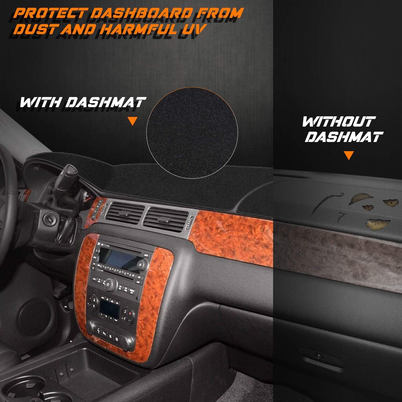 NDRUSH Dash Cover Mat No Slip Dashboard Carpet Compatible with Chevy Silverado 1500 GMC Sierra Tahoe Yukon 2007-2013 Black