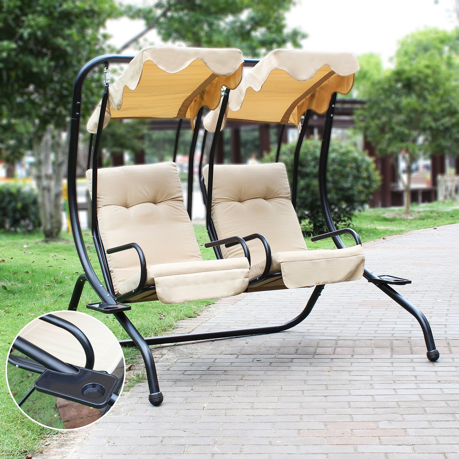 Amazon Joveco Canopy Awning Outdoor Porch Swings Chair Two