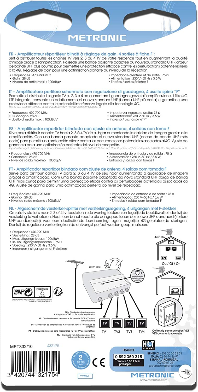 Metronic 432175 - Amplificador señal de Antena TV, Compatible 4G, 28dB, 4 Salidas con Toma F, Interior, Blanco