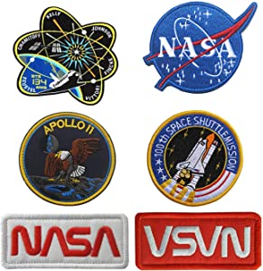Antrix 6 Pcs NASA Office Logo Apollo 11 Space Shuttle Plan 100th Space Shuttle Mission Iron On Sew on Heat Transfer Backing Military Emblem Badge Morale Patch for Backpacks Caps Hats Bags Jacket